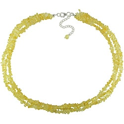 Miadora Sterling Silver Citrine Chip 3-strand 17-inch Necklace