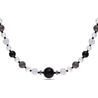 M by Miadora Black Cord 125ct TGW Agate and Freshwater Pearl 16-inch Necklace (7-8 mm)