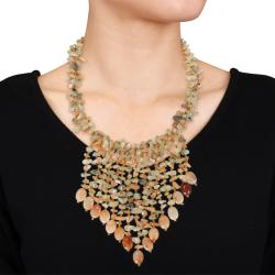 650ct TGW Citrine and Light Green Agate 30-inch Bib Necklace