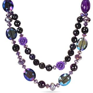 M by Miadora 650ct TGW Purple Agate and Crystal Bead 26-inch Necklace