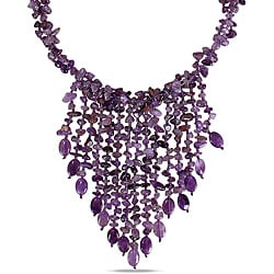 650ct TGW Purple Agate and Amethyst 30-inch Bib Necklace