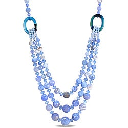 800ct TGW Blue and White Agate and Crystal Bead 3-strand Necklace