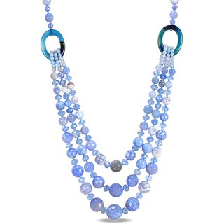 M by Miadora 800ct TGW Blue and White Agate and Crystal Bead 3-strand Necklace