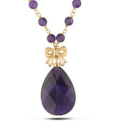 Miadora Goldplated Silver 34ct TGW Amethyst Bead 18-inch Necklace
