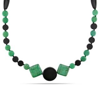 M by Miadora 700ct TGW Malachite and Onyx 40-inch Fashion Necklace
