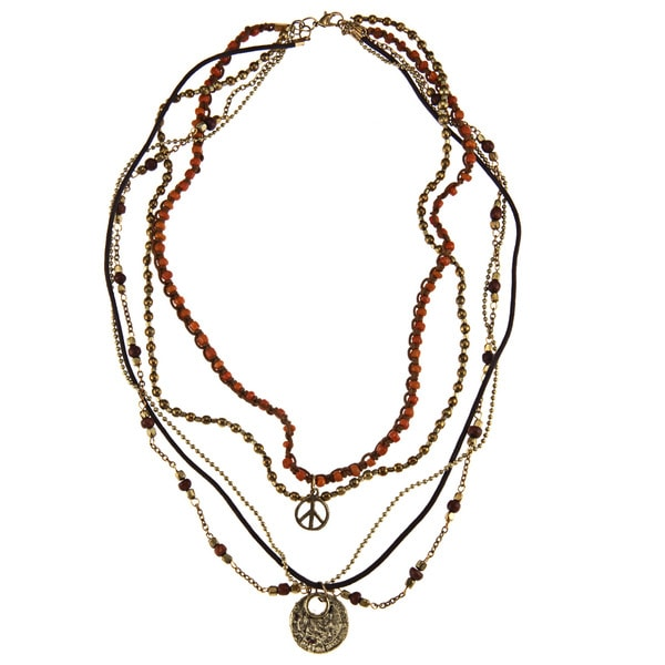 Goldtone Orange and Brown Glass Bead 'Marcy' Multi-strand Necklace