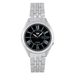 Seiko Men's 5 Automatic SNKL35K Silver Stainless-Steel Automatic Watch with Black Dial