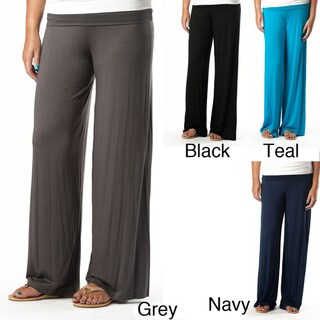 Tabeez Women's Plus Size Fold-over Palazzo Pants