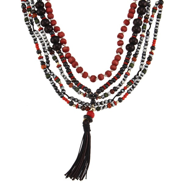 Glass Bead 'Xochitl' Multi-strand Tassel Necklace