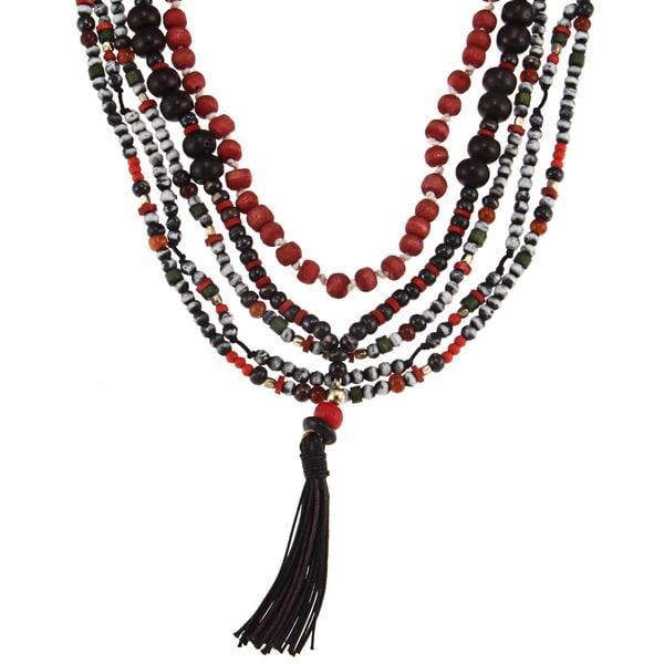Glass Bead 'Xochitl' Multi-strand Tassel Necklace