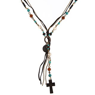 Goldtone Glass Bead 'Catalina' Multi-strand Cross Necklace