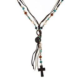 Goldtone Glass Bead 'Catalina' Multi-strand Cross Necklace