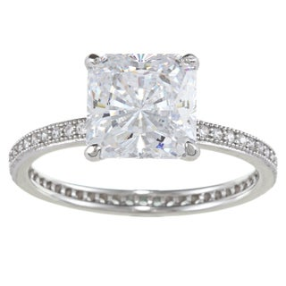 La Preciosa Sterling Silver Clear Square-cut Cubic Zirconia Engagement-style Ring