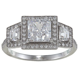 La Preciosa Sterling Silver Cubic Zirconia Engagement-style Ring
