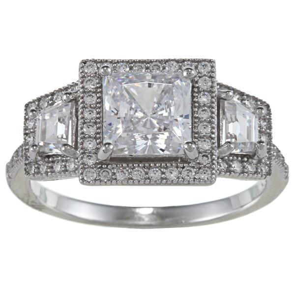 La Preciosa Sterling Silver Cubic Zirconia Engagement-style Ring