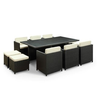 Evo Outdoor 11-piece Dining Set in Espresso with White Cushions