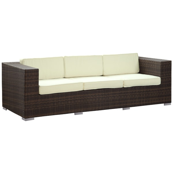 Daytona Outdoor Rattan Sofa in Brown with White Pillows