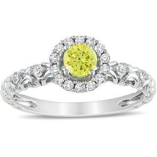 Miadora 14k White Gold 1/2ct TDW Yellow and White Diamond Halo Ring (H-I, I1-I2)