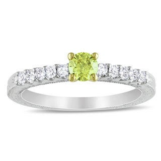 Miadora 10k White Gold 1/2ct TDW Yellow and White Diamond Ring (H-I, I1-I2)