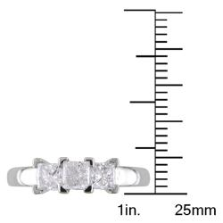 Miadora 14k Gold 1ct TDW Princess-cut Diamond 3-stone Ring (G-H, I2-I3)