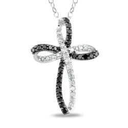 M by Miadora Sterling Silver 1/4ct TDW Black and White Diamond Cross Necklace (I-J, I3)