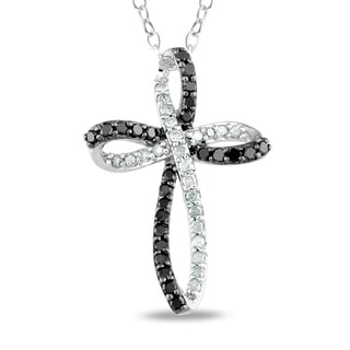 Miadora Sterling Silver 1/4ct TDW Black and White Diamond Cross Necklace (I-J I3)
