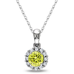 Miadora 10k White Gold 1/2ct TDW Yellow and White Diamond Halo Necklace (H-I, I1-I2)