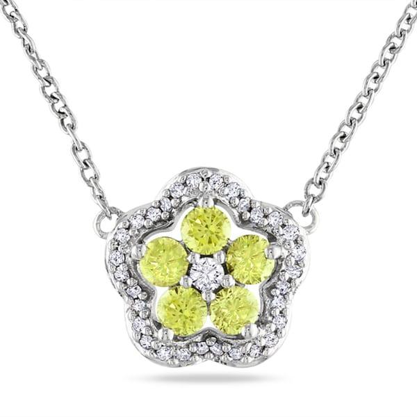 Miadora 14k Gold 1/2ct TDW Yellow Diamond Flower Necklace