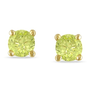 Haylee Jewels 14k Yellow Gold 1/4ct TDW Yellow Diamond Stud Earrings
