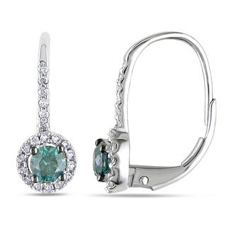 Miadora 14k White Gold 3/4ct TDW Blue and White Diamond Halo Earrings (H-I, I1-2)