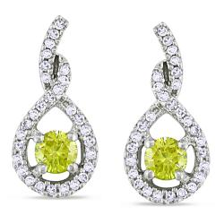 Miadora 14k White Gold 1/2ct TDW Yellow and White Diamond Earrings (H-I, I1-I2)