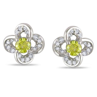 Miadora 14k Gold 1/3ct TDW Yellow and White Diamond Flower Earrings (H-I, I1-I2)