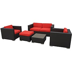 Malibu Outdoor Rattan 5-piece Set in Espresso with Red Cushions