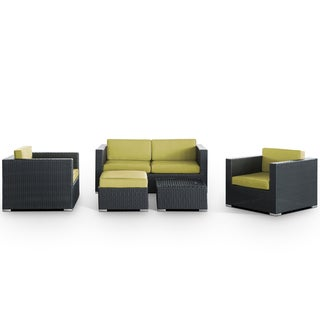 Malibu Outdoor Rattan 5-piece Set in Espresso with Peridot Cushions