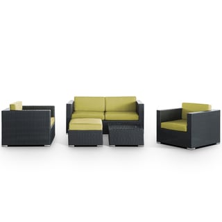 Malibu Outdoor Rattan 5-piece Set in Espresso with Peridot Cushions