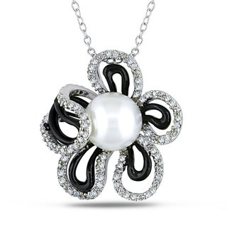 Miadora Sterling Silver 1/4ct TDW Diamond and Pearl Flower Pendant (H-I, I2-I3)