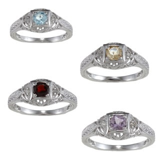 Viducci Sterling Silver Vintage Style Gemstone and Diamond Ring (1/6 TDW)