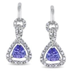 Miadora 10k White Gold Tanzanite and 1/10ct Diamond Earrings (H-I, I2-I3)