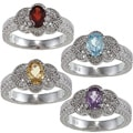 Viducci Sterling Silver Gemstone and 1/5ct TDW Diamond Ring (G-H, I1-I2)