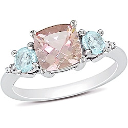 Miadora Sterling Silver 2 1/4ct TGW Morganite, Blue Topaz and Diamond Accent Ring