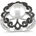 Miadora Silver Pearl and 1/2ct TDW Black and White Diamond Ring (H-I, I2-3)