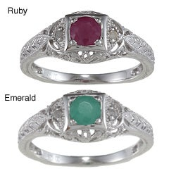 Viducci Sterling Silver Vintage Emerald, Ruby and 1/6 TDW Diamond Ring