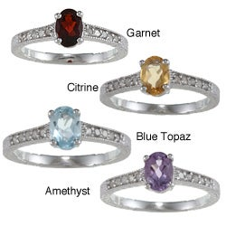 Viducci Sterling Silver Vintage Style Gemstone and 1/5ct TDW Diamond Ring