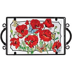 Joan Baker Hand Painted Poppy Garden Tray