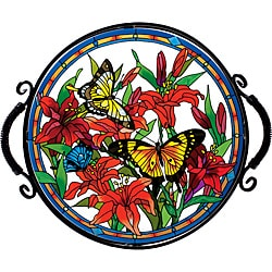 Joan Baker Hand Painted Butterflies/Lilies Tray