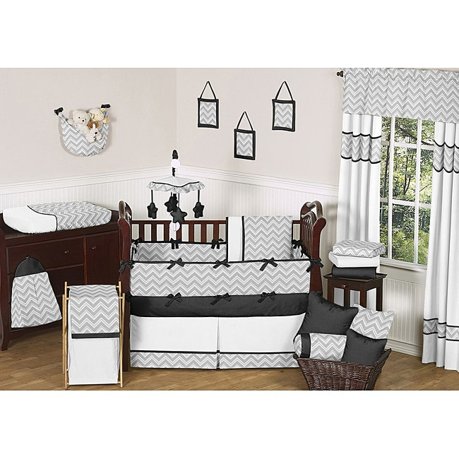 Sweet Jojo Designs Grey and Black Zig Zag 9-piece Crib Bedding Set