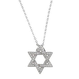 La Preciosa Sterling Silver Cubic Zirconia Star of David Necklace