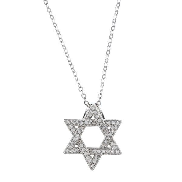 La Preciosa Sterling Silver Cubic Zirconia Star of David Necklace