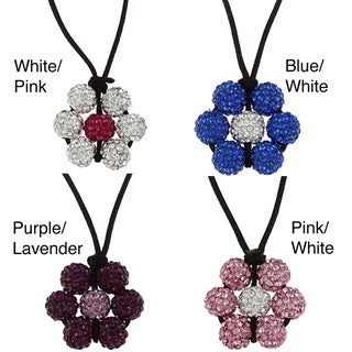 La Preciosa Crystal Bead Flower Adjustable Black Cord Necklace