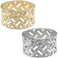 La Preciosa Goldtone or Silvertone Criss-cross Hinged Bangle Bracelet